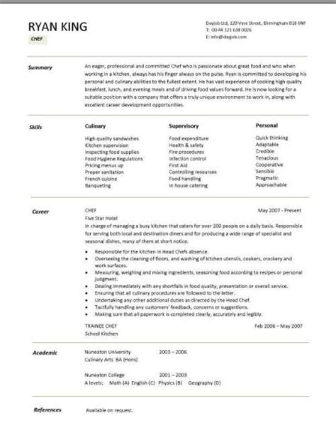 resume example college of culinary examples line cook sample