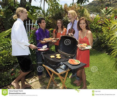 backyard bar b que friends at a backyard bar b que stock image image 13917031