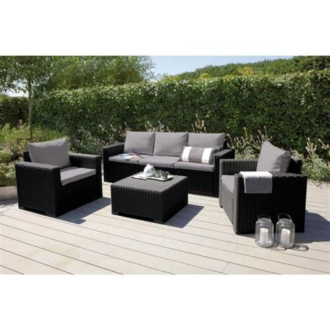 salon de jardin centrakor california salon de jardin 5 places en r 233 sine aspect rotin tress 233 gris achat vente salon