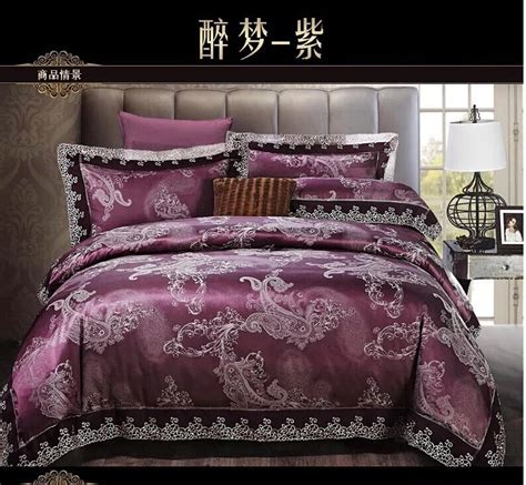 black lace comforter set deep purple paisley lace satin jacquard bedding set king