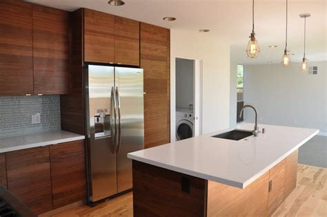 modern kitchen walnut veneer cabinets with aluminum trim