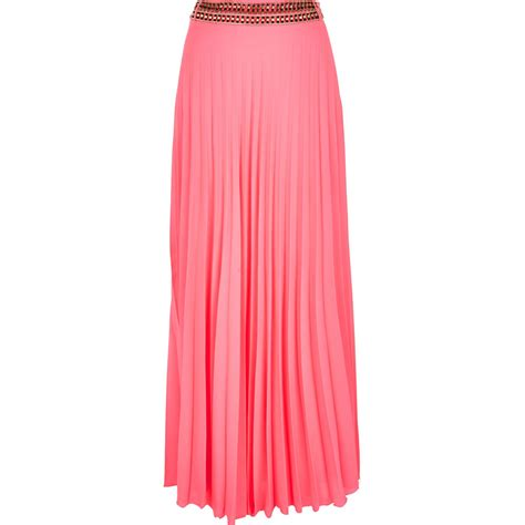 river island pink pleated maxi skirt in pink lyst