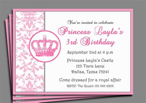 princess birthday invitation templates princess invitation printable or printed with free