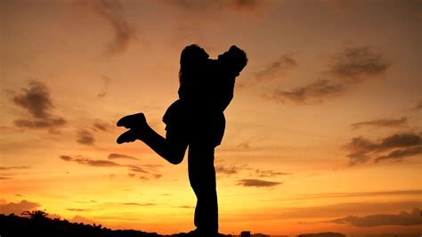 Lover S hugging and shadows sunset hd