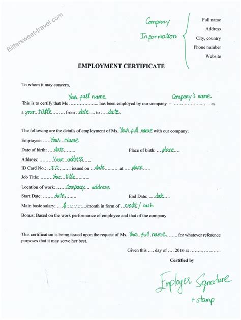 employment certification letter for embassy employment certificate sle to embassy images