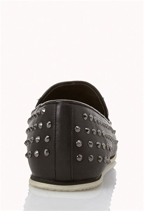black spiked loafers forever 21 spiked loafers in black for lyst
