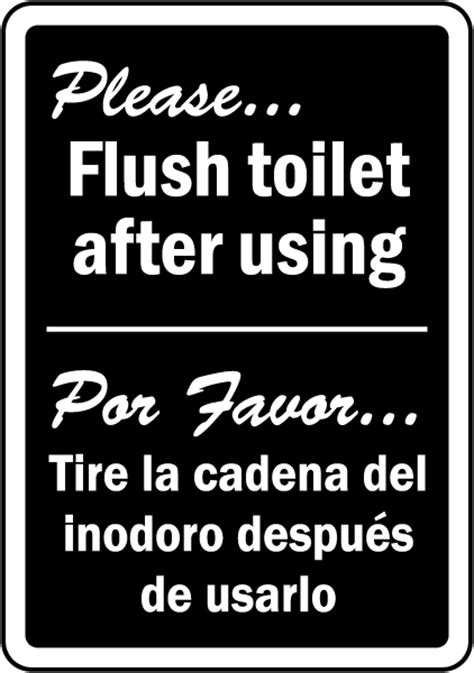 translate to spanish where is the bathroom bilingual please flush toilet sign d5824 by safetysign com