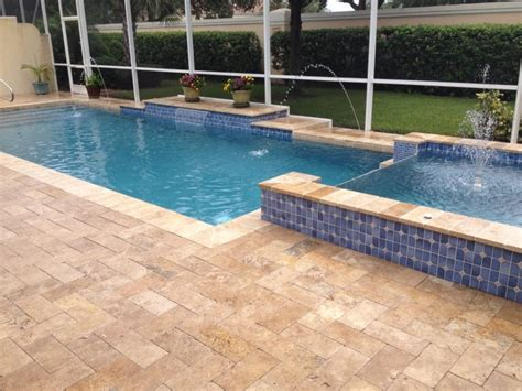 paver pool deck falling in love with travertine pavers pool deck homesfeed