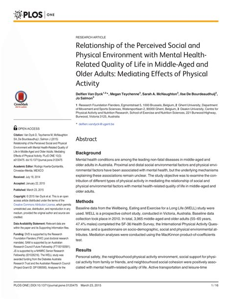 Parisae Condition Ae Mental Not Physical by Relationship Of The Perceived Social And Pdf