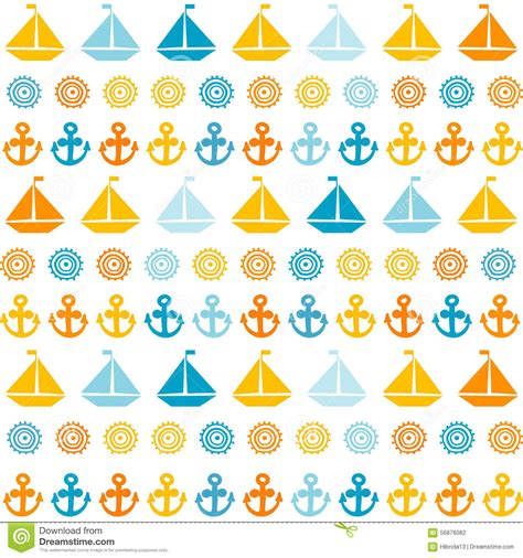cartoon boat background cartoon seamless pattern with sail boats anchors and