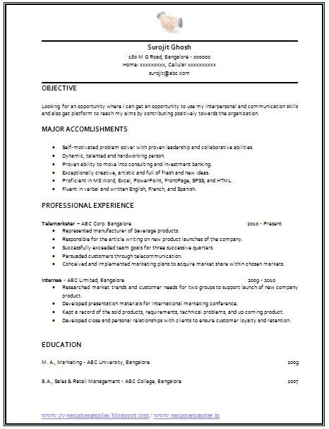 simple resume format for salesman professional curriculum vitae resume template for all