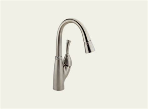 delta allora single handle bar faucet with pull down sprayer in delta allora single handle bar prep faucet 999 ss dst