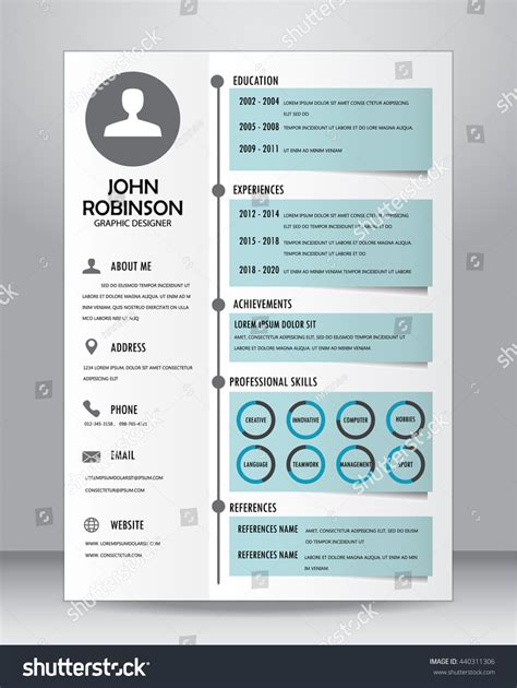 Job Resume Layout job resume cv template layout template stock vector 440311306 shutterstock