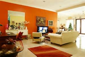 modern orange color in the living room one decor