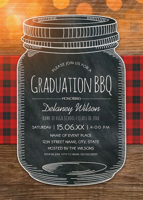 graduation bbq invitations chalkboard mason jar graduation