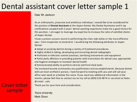 dental assistant cover letter exles dental assistant cover letter
