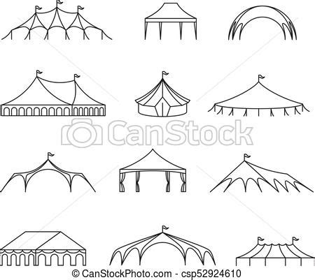 Wedding Tent Clip by Event And Wedding Outdoor Marquee Tents Vector Line Icons