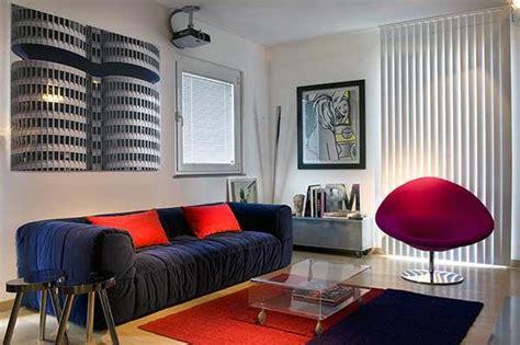 red blue room contemporary italian decorating ideas blending artworks