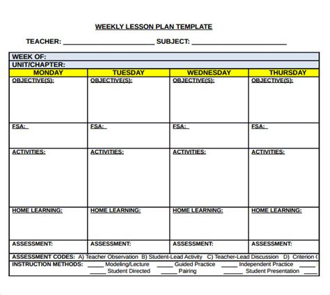 weekly lesson plan template doc weekly lesson plan template doc template business