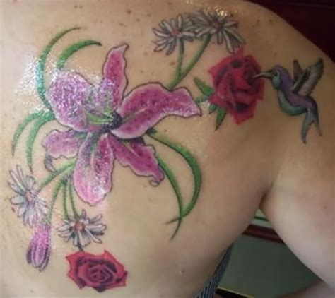hummingbird and rose tattoo and flowers with hummingbird back