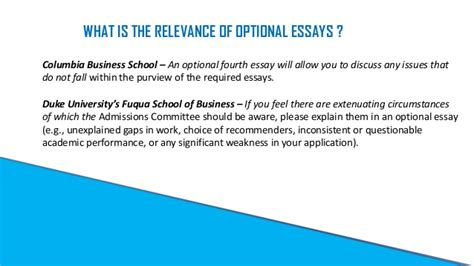 Columbia Mba Optional Essay by Optional Essay A Catalyst To Boost Your Mba Application