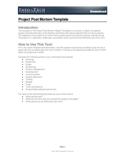 project post mortem template post mortem report