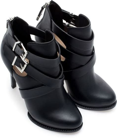 high heel ankle boots with buckles zara high heel ankle boots with buckles in black lyst