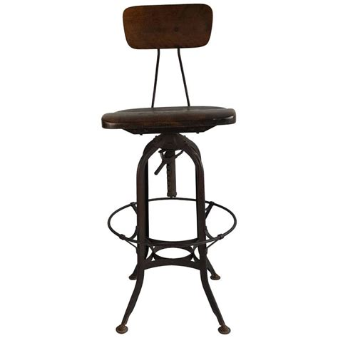 early 20th century toledo drafting stool carved wood seat