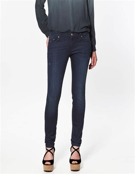 zara slim fit in blue zara molecule slim fit denim in blue denim lyst