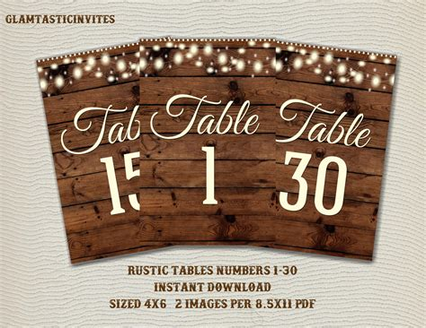 Rustic Table Numbers by Rustic Table Numbers Printable Table Numbers Wedding Table