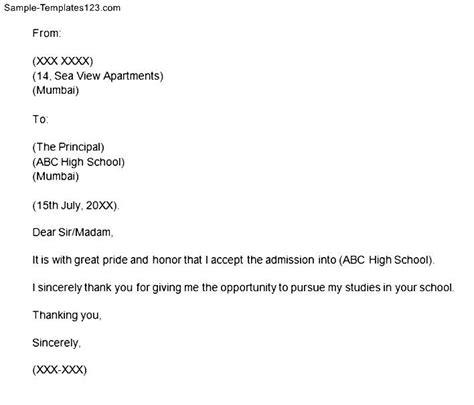 Acceptance Letter In School School Acceptance Letter Sle Templates