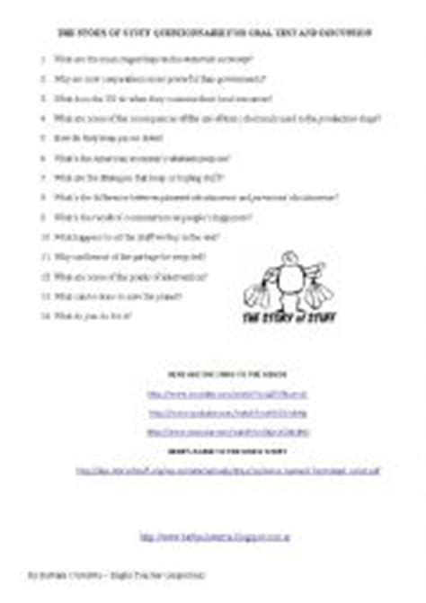Story Of Stuff Worksheet Answers by The Story Of Stuff Questionnaire For
