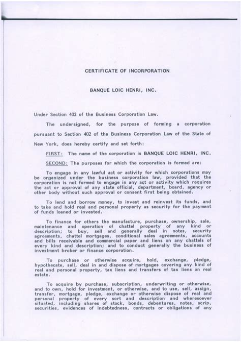 section 402 of the business corporation law certificate of incorporation banque loic henri inc