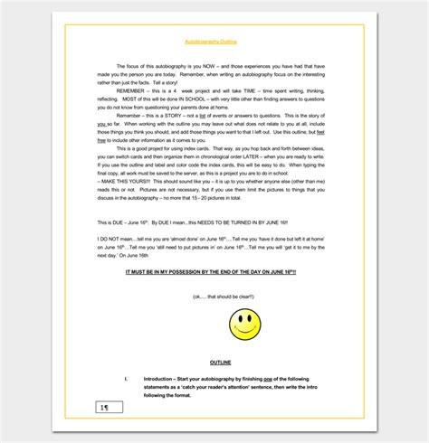 Cultural Autobiography Outline by Autobiography Outline Template 23 Exles And Formats
