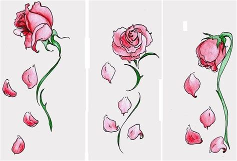 wilting rose tattoo falling petals tattoos