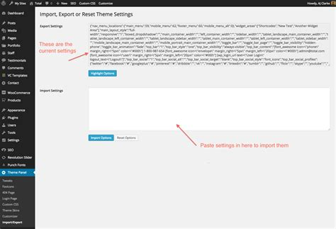 Sleting Import exporting and resetting theme options total theme