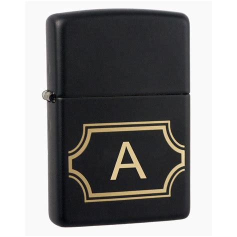 Zippo Lighter Matte visol black matte zippo lighter initial letter quot a