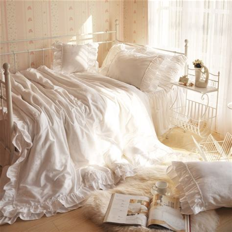 korean web site to order white satin bedspreafs korean bedding white duvet covers home ruffle princess set 4pcs100 cotton