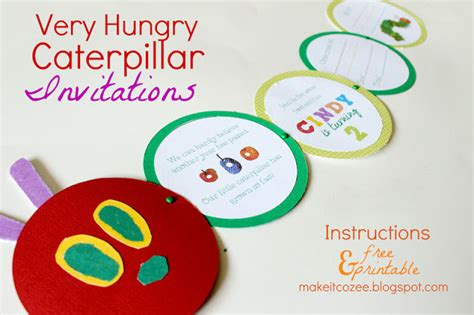 Make It Cozee Diy Very Hungry Caterpillar Invitations Hungry Caterpillar Birthday Invitation Template