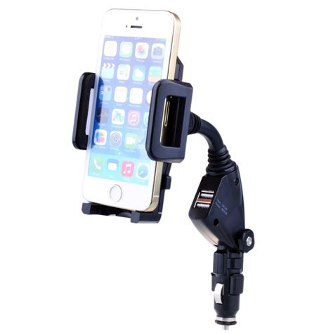 Holder Motor Charger Usb Qs 121 universal 2 port usb car charger adapter car cell mobile phone holder mount stand for iphone