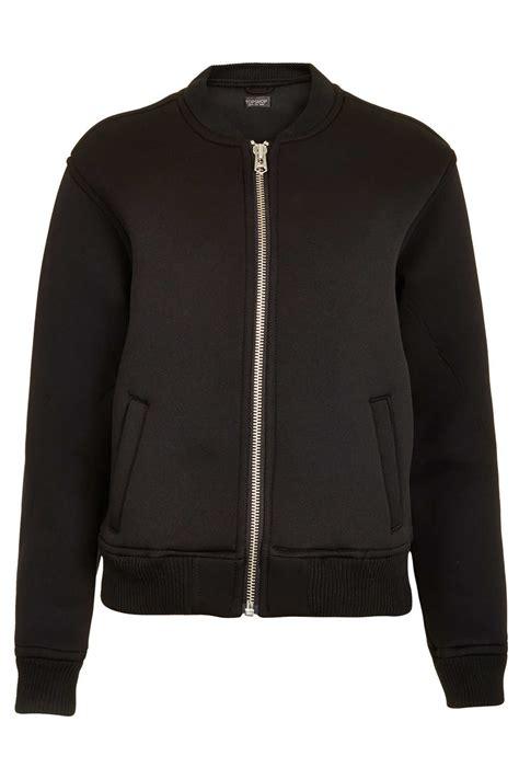 Nerina Black Bomber Jacket lyst topshop neoprene bomber jacket in black