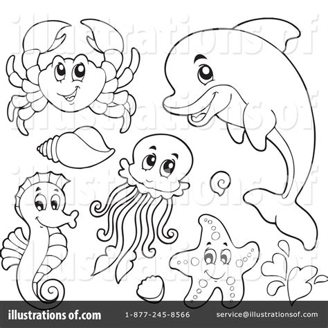 templates for under the sea creatures sea life clipart black and white pencil and in color sea