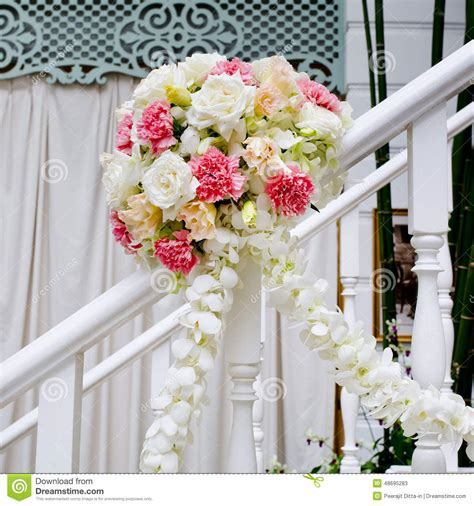 Beautiful Wedding Flower Decoration At Stairs Royalty Free