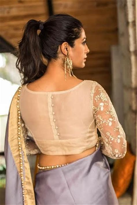 boat neck with potli buttons net blouse design sheer net back net sleeves blouse