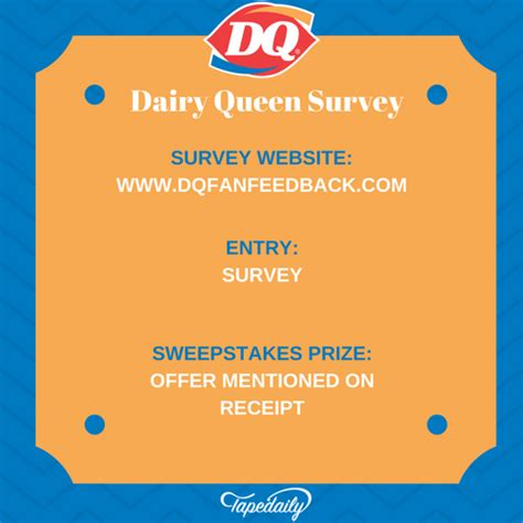 dq fan feedback survey dq fan feedback www dqfanfeedback com dairy queen survey