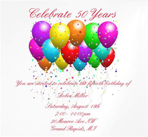 birthday card balloon template 14 50th birthday invitations free psd ai vector eps