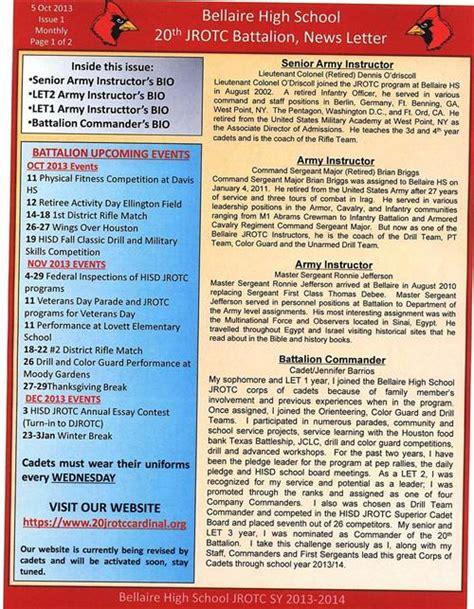 Jrotc Parent Letter Jrotc 2013 2014 Newsletters