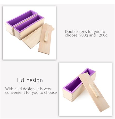 With Cover Diy Mold rectangular solid diy handmade silicone soap mold wooden