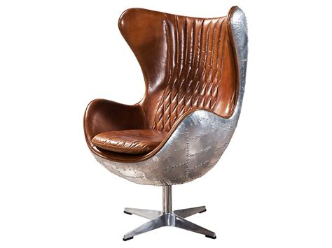 aviator vintage leather egg chair fiberglass inner frame