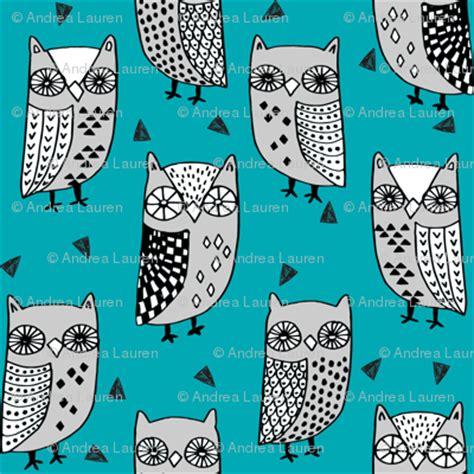 scary aqua owl bird design owls owl turquoise teal and grey owl fabric owl birds